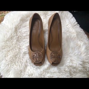 Tory Burch Tan Leather Wedges